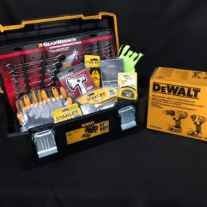 Stanley, GearWrench and DeWalt tool set.