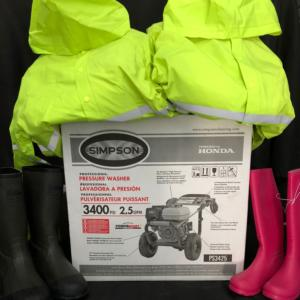 Honda power cleaner, waterproof boots and waterproof jackets